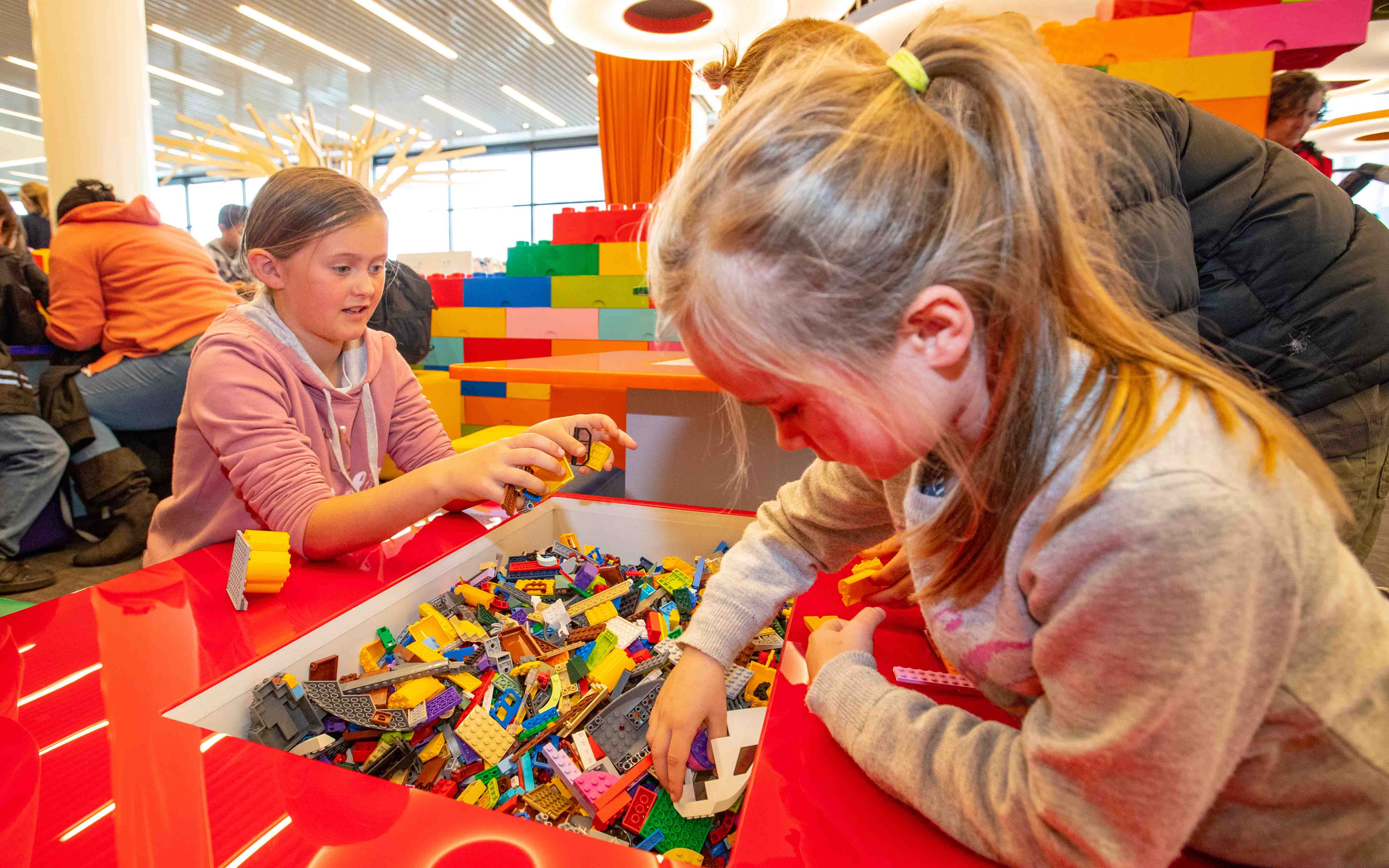 'Kids playing with lego at Turanga.